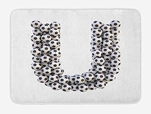Letter U Bath Mat, Stack of Soccer Balls with U Shape Alphabet in Football Theme Outdoor Sports, Plush Bathroom Decor Mat with Non Slip Backing, Black and White,20X31 inch (Oversized Ball Decorative Rattan)