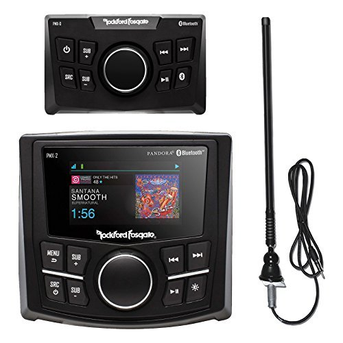 Rockford Fosgate PMX-2 Ultra Compact Bluetooth Marine Boat MP3 Digital Media Receiver Bundle Combo With PMX-0R Wired Remote Control + Enrock Black Rubber Mast Radio Antenna ()