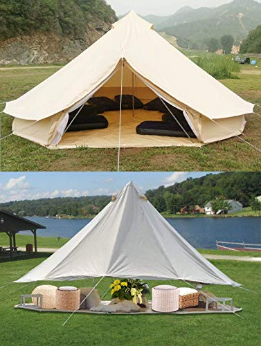 PlayDo 4-Season Waterproof Cotton Canvas Bell Tent Wall Yurt Tent with Stove Hole for Outdoor Camping Hunting Hiking Festival Party