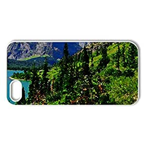Glacier national park - Case Cover for iPhone 5 and 5S (Lakes Series, Watercolor style, White)