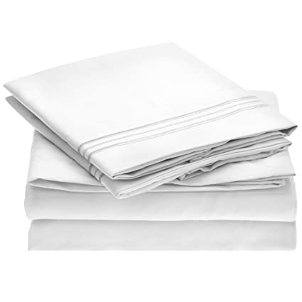 c2d239e81b Amazon.com: Ideal Linens Bed Sheet Set - 1800 Double Brushed Microfiber  Bedding - 4 Piece (King, White): Home & Kitchen