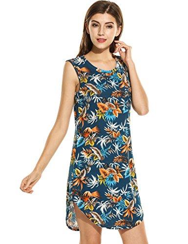 Teamyy Vestido lápiz Casual para Mujer sin Mangas de impresión floral y Cuello redondo Azul