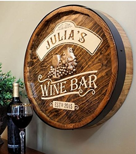 Wine Bar Barrel End Personalized Sign by Thousand Oaks Barrel Co.