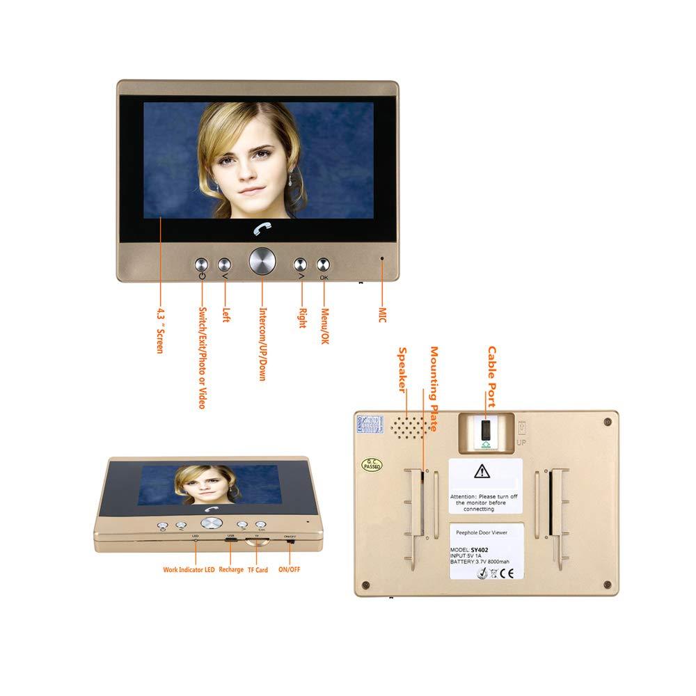 Monitor de c/ámara de Seguridad LCD Lente Gran Angular de 160 /° Visi/ón Nocturna V/ídeo de grabaci/ón Visor Digital de Puerta y Timbre de Puerta Timbre de Mirilla de Mirilla de 5 Pulgadas