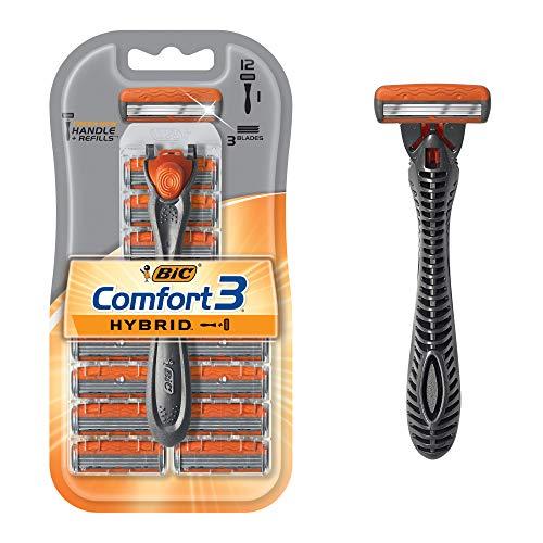 BIC Comfort 3 Hybrid Men's Disposable Razor, One Handle, 12 Cartridges