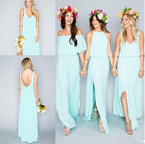 Gowns Greenb Prom Evening Chiffon Women's Line Mint Bridesmaid Long Dress A Simple z0O6x8P0