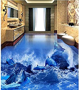 Moderne Aufkleber 3d Boden Delphin Welle 3d Badezimmer Wohnzimmer