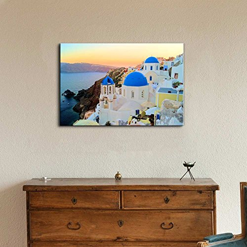 Sunset View of The Blue Dome Churches of Santorini Greece Wall Decor Wood Framed