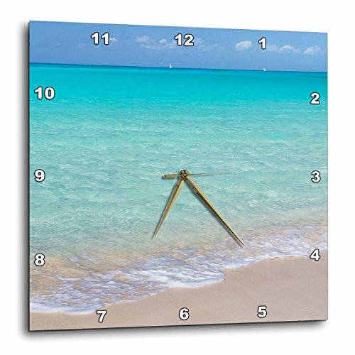 3D Rose Bahamas - Little Exuma Island. Ocean surf and Beach Wall Clock, 15