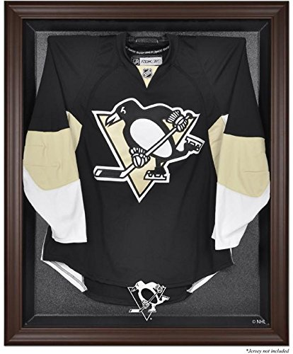 Pittsburgh Penguins Brown Framed Logo Jersey Display Case - Browns Case Logo Display