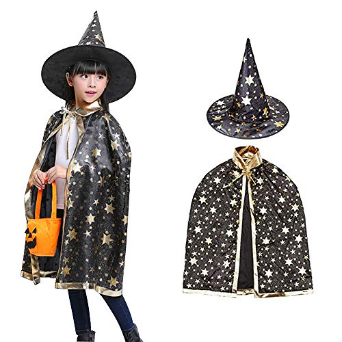 Halloween Costumes Witch Wizard Cloak with Hat for Kids Boys Girls (Black)