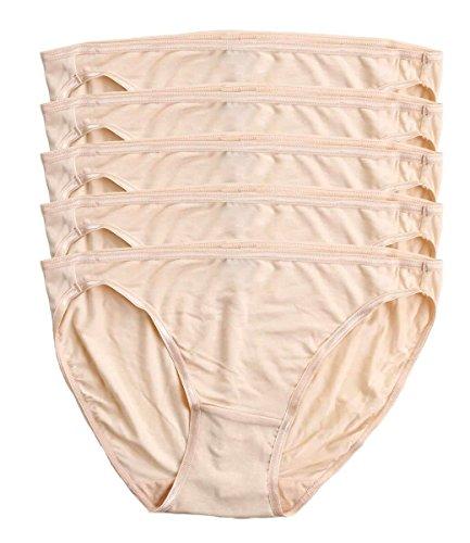 Felina | So Smooth Low Rise Bikini Panties | Seamless Underwear | 5 Pack (Bare, Small) (Felina Cotton Camisole)