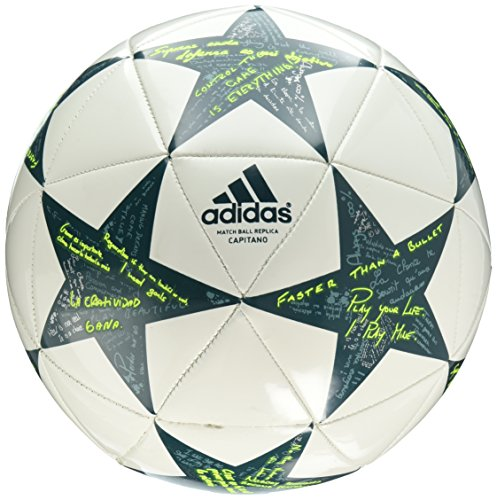 adidas Performance Champion's League Finale Capitano Soccer Ball, 2016 White/Vapor Steel Grey/Tech Green, Size 4 (Finale Adidas Ball)
