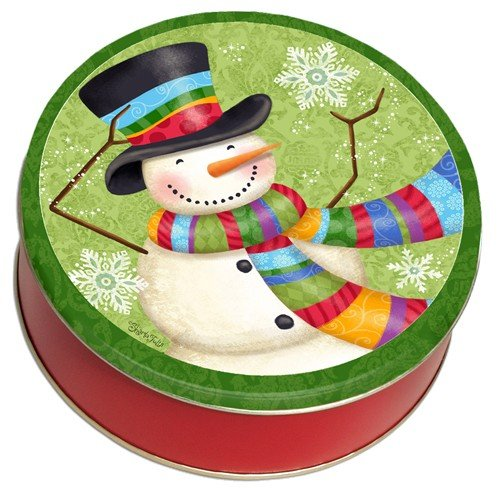 Whimsical Snowman with Scarf and SnowflakesHoliday Gift Giving Tin Filled with Milk Chocolate Almonds 80 (Filled Snowman)