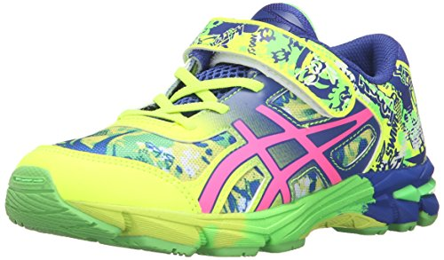 Price comparison product image ASICS Gel-Noosa Tri 11 PS Running Shoe Little Kid, Safety Yellow/Pink Glow/ASICS Blue, 11 M US Little Kid