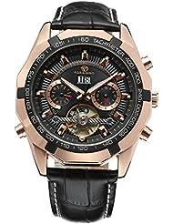 Forsining Mens Self winding Original Automatic Tourbillion Calendar Leather Strap Wrist Watch FSG340M3T3