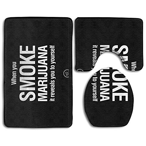 CHUFZSD Anti-Drug Slogan Bathroom Carpet Rug 3 Piece Soft Family Flannel Bath U Contour Non-Slip Mat Lid (Best Anti Drug Slogans)