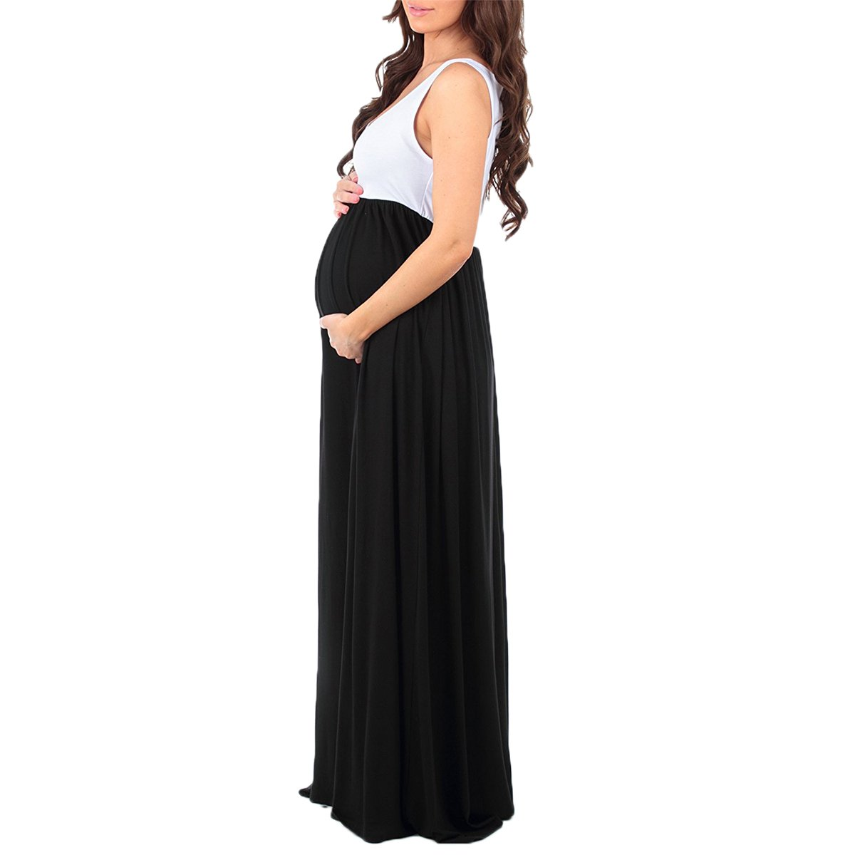 2115077022353 Women Maternity Color Block Boho Ruched Tank Dress Long Floral Pregnant  Mama Casual Maxi Gown for Baby Shower Photography at Amazon Women's Clothing  store: