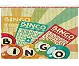 iPrint Shower Curtain [ Vintage Decor,Bingo Game with Ball and Cards Pop Art Stylized Lottery Hobby Celebration Theme,Multi ] Decorative Shower Curtain Ideas