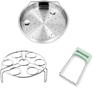 Steamer Basket Rack for Instant Pot Accessories, Pressure Cooker Rack Set for Instant Pot 6qt 5qt 8qt with Foldable Bowl Plate Dish Clip Clamp, Stainless Steel (3 Pack)