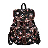 Douguyan Lightweight Backpack for Teen Young Girls Cute Backpack Print Rucksack Black 163