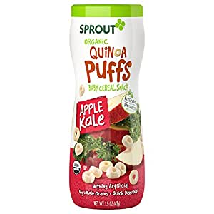 Sprout Organic Baby Food, Sprout Quinoa Puffs Organic Baby Snack, Apple Kale, 1.5 Ounce Canister (Pack of 1), Baby's First Snack, Quick Dissolve, Gluten Free, Made with Whole Grains, USDA Organic