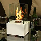 Sunnydaze White Cubic Ventless Bio Ethanol Tabletop Fireplace