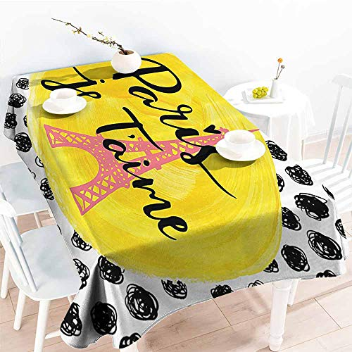 PEONIY&HOME Party Table Cover,Paris City Decor Collection,Eiffel Tower with Paris I Love You Message Polka Dot Background Vintage Art Design,Black Yellow 70