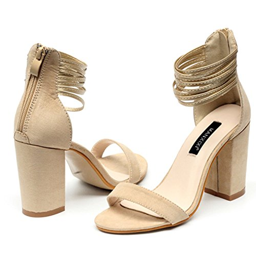 Chunky Heels Ankle Beauty Open Strap Womens Toe Apricot Sandals D2C q1IA0nxYdY