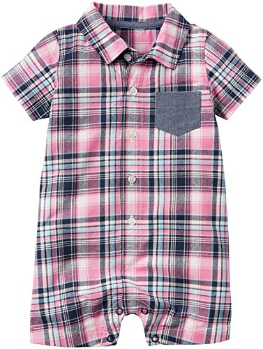 Carter's Baby Boys Plaid Romper, Pink 3 Months