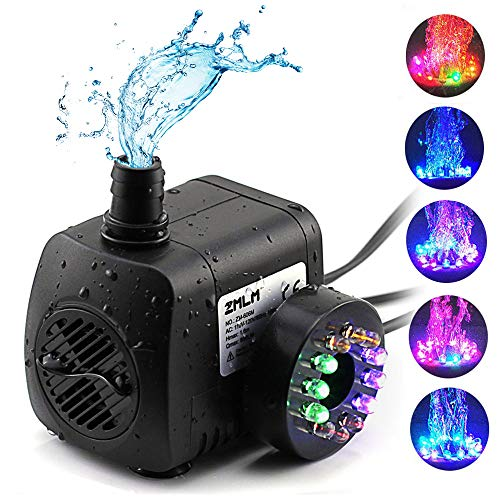ZMLM Fountain Pumps (15W 800L/H) with Colorful LED Light Ultra Quiet Submersible Water Pump for Indoor Pool, Garden, Pond, Fish Tank, Aquarium, Hydroponic, Statuary