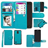 Samsung Galaxy Note 4 Case, xhorizon TM Premium Leather Folio Case [Wallet Function] [Magnetic Detachable] Fashion Wristlet Lanyard Hand Strap Purse Soft Flip Book Style Multiple Card Slots Cash Compartment Pocket with Magnetic Closure Case Cover Skin ZA5 for Samsung Galaxy Note 4 (N9100) - Blue