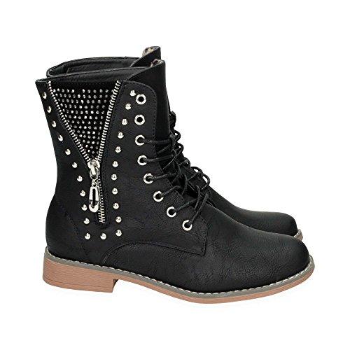 Damen Schnür Stiefel mit Blockabsatz | Biker Boots im bequemen und modischen Design | Nieten Stiefeletten Schuhe | Gr. 36 bis 41 | Japanolo | Schwarz EU 39