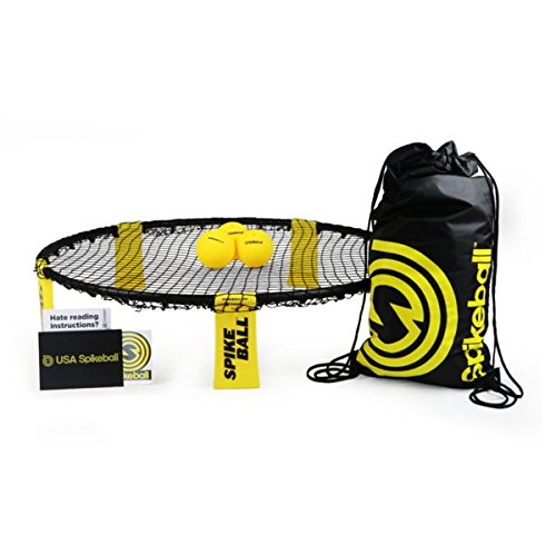 Spikeball 3 Ball Game Set, Played on Lawn, Yard, Outdoors, Indoors, Beach - As Seen On Shark Tank TV - Includes Playing Net, 3 Balls, Drawstring Bag, And Rule Book - Ball Toss Volley Game for All Ages