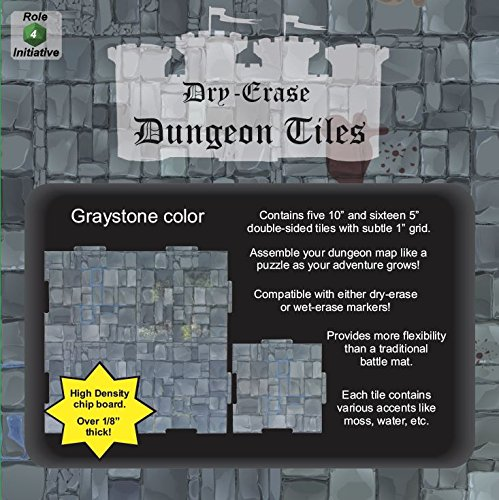 Dry Erase Dungeon Tiles, Graystone - Pack of 5 10