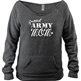 USAMM Ladies Vintage Proud Army Mom Fleece Boutique Style Open Neck Sweatshirt (L, Charcoal)