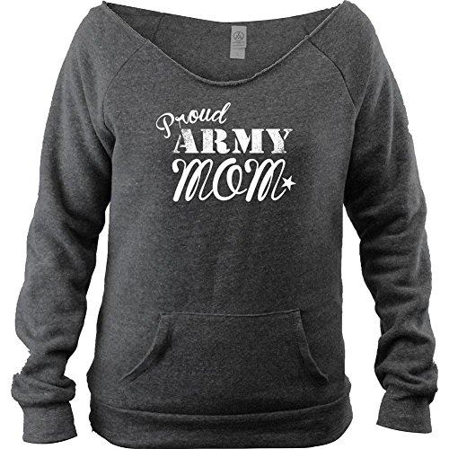 Ladies Vintage Proud Army Mom Fleece Boutique Style Open Neck Sweatshirt (XL, (Open Neck Fleece Pullover)