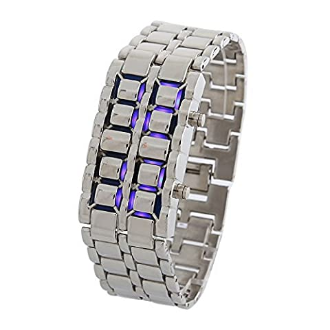 DAYAN Men's Lava Black Stainless Steel Bracelet Watch Silver and Blue LED Digital Watch Water (Blue Lava Watch)