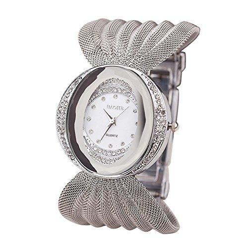 oumosi Frauen Diamant Quarzuhr Oval Breitband Mesh Belt Uhren Damen Fashion Uhren Silber