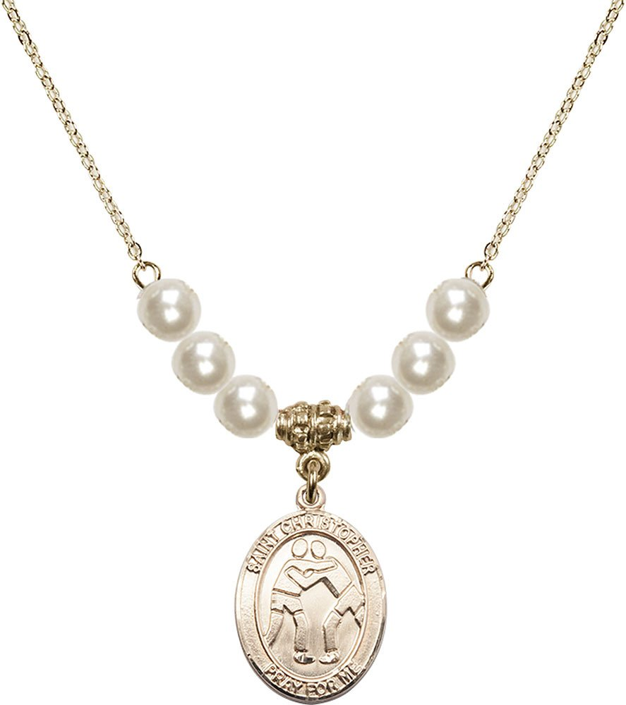Gold Plated Necklace with 6mm Faux-Pearl Beads & Saint Christopher/Wrestling Charm. by F A Dumont