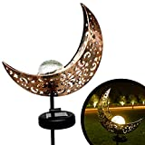 Flyhoom Garden Solar Lights Outdoor LED Landscape Lighting - Waterproof Moon Crackle Glass Globe Stake Lights for Patio Lawn Backyard Pathway Decoration(Warm White)