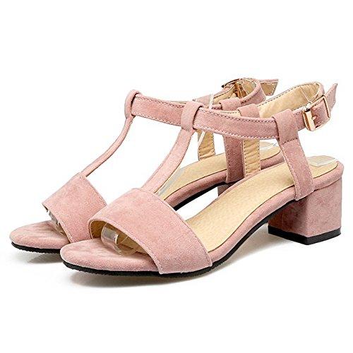 COOLCEPT Mujer Moda Correa en T Sandalias Tacon Ancho Punta Abierta Slingback Zapatos Rosado