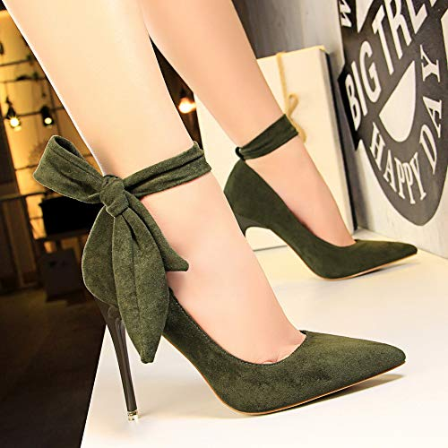 Strap Femenino tacón Nightclub Green Zapatos Pointed Heels Black High de Yukun alto 10Cm Stiletto Bow con Cordones zapatos aq0Enw8H