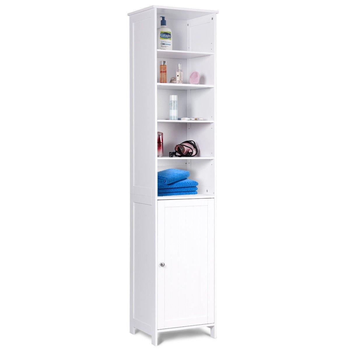 White 72''H Bathroom Tall Floor Storage Cabinet Free Standing Shelving Display Allblessings