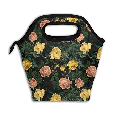 (18 Moody Florals Roses By UtART - Mystic Night 38_5758 Lunch Bag Insulated Lunch Box Reusable Lunch Tote Cooler Organizer Bag Lunch Bags for Women,Men and Kids Adults )