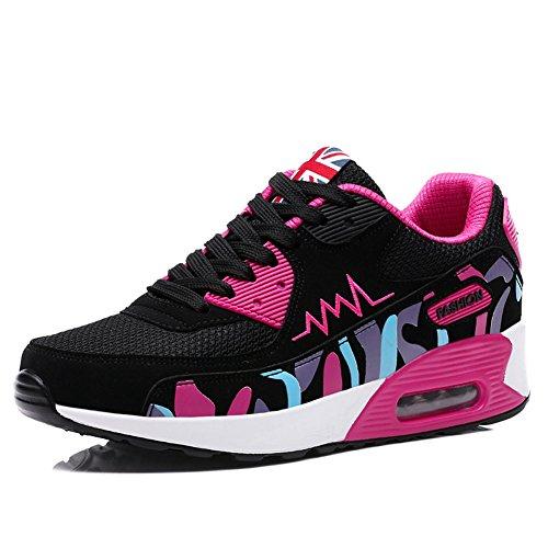 En Aire a Zapatos Mujer Asfalto Correr Casuales y Mujer De Rose Deportes malla Monta Wealsex Zapatillas Running Para Libre Negro Para Zapatos qxtASg0