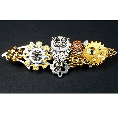 Steampunk Flying Owl w/ Gears Brooch Pin, Bird Avian Fantasy Jewelry, Gift for Mom Harry Potter Fan Filigree Fan