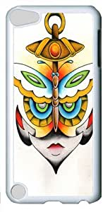 Butterfly Anchor Face PC Case Cover for Apple iPod 5 and iPod Touch 5 White