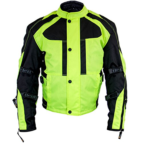 Xelement XS3000 Momentum Mens Black/Neon Green Tri-Tex Armored Motorcycle Jacke - X-Large (Xelement Motorcycle Jacket)