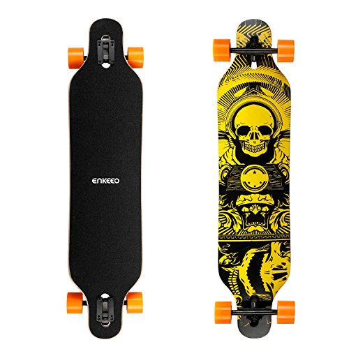ENKEEO 40 Inch Drop-Through Longboard Skateboard Complete for Carving Downhill Cruising Freestyle Riding (Longboard Skateboard Deck)